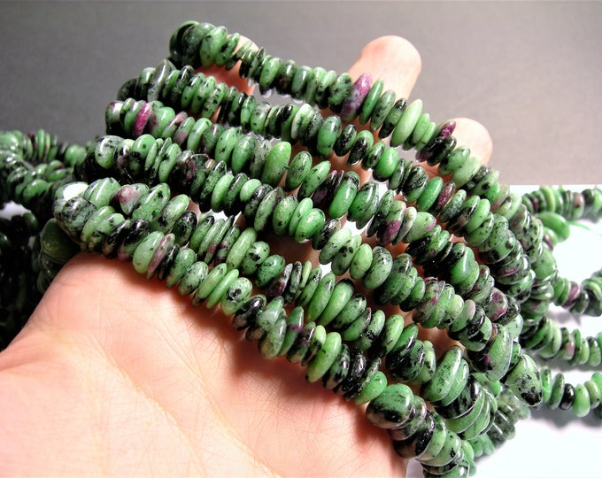 Ruby zoisite chips stone disc beads - 12mm - full strand - A quality - PSC344