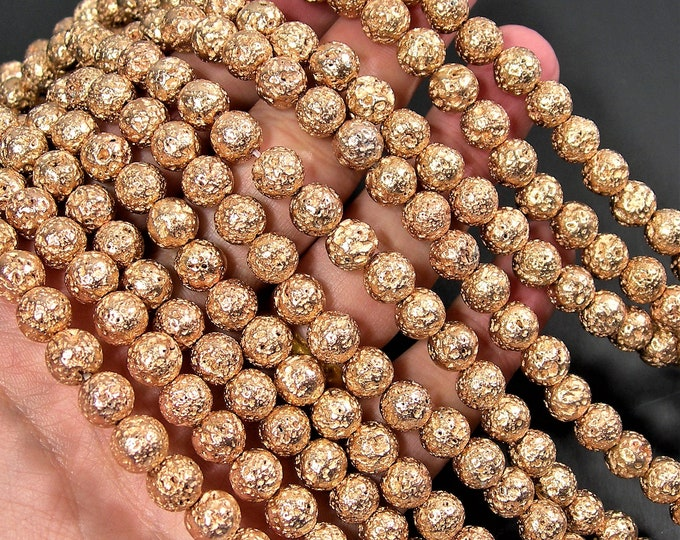 Gold bronze Plated Lava - 8mm round -  full 16 inch strand - 50 beads - A Quality - Lava  volcanic gem - Wholesale deal - RFG1814