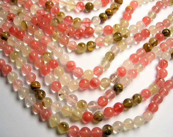Fire Cherry quartz  10 mm round bead  full strand  40 bead - RFG1120