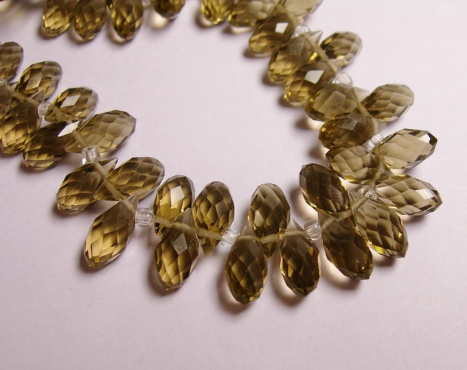 Faceted teardrop crystal briolette beads - 24 pcs - 12mm by 6mm - top sideways drill - smokey quartz grey