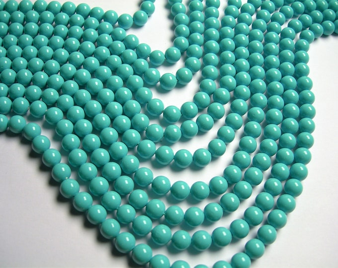 Pearl  - 8 mm round - Turquoise Pearl  - 1 full strand - 48 beads - SPT34 - Shell pearl