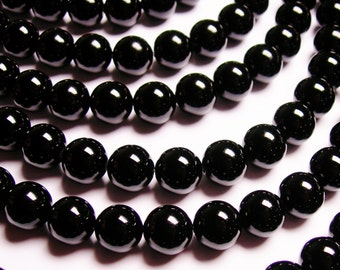 Black Onyx - 10mm round beads -1 full strand - 40 beads - AA quality - WHOLESALE DEAL - RFG307