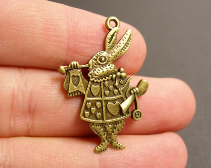 12 rabbit Charms - 12 pcs antique brass bronze rabbit charms-  BAZ86