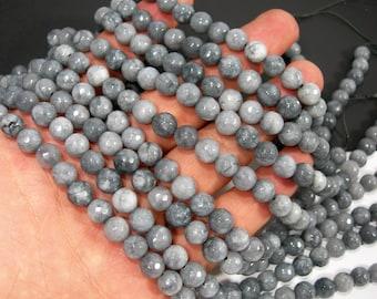 full strand gjd0122 12mm Round Faceted Slate BLUE GREY JADE Gemstone Beads