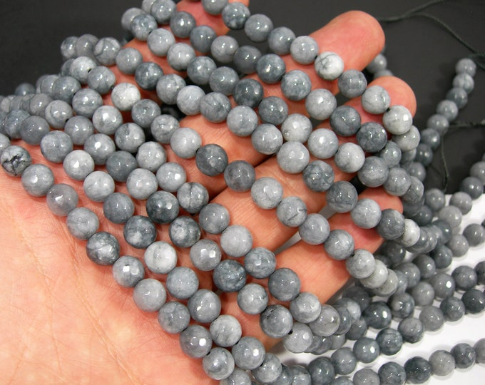 Grey Jade - 8 mm faceted round beads - full strand - 48 beads - Grey  Jade - RFG2044
