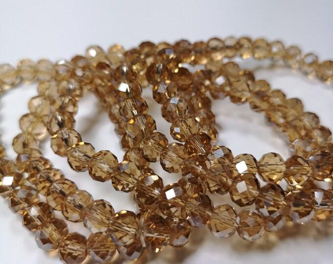 Crystal elastic - 30 beads - 8 mm - 1 set - Champagne  - HSC8