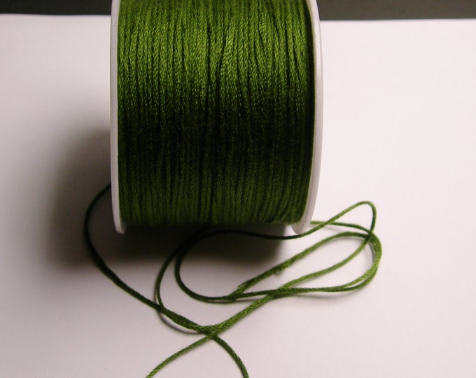 Cotton Cord - knotting - embroidery cord - 1mm - 120 meter - 390 foot - dark khaki green - CTN10