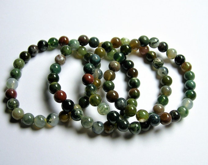 Indian agate - 8mm round beads - 23 beads - 1 set - A quality  - HSG45