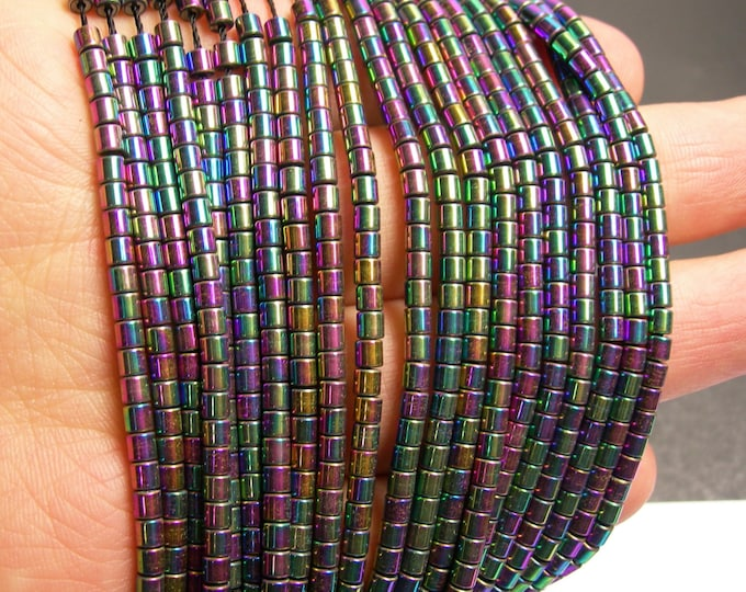 Hematite rainbow  - 3x3mm tube beads - full strand - 132 beads - AA quality - mystic rainbow -  PHG146