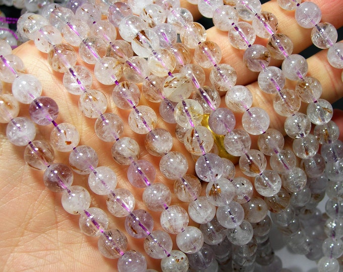 Cacoxenite in Quartz - 8mm round beads - Full strand - 49 beads -  RFG2278