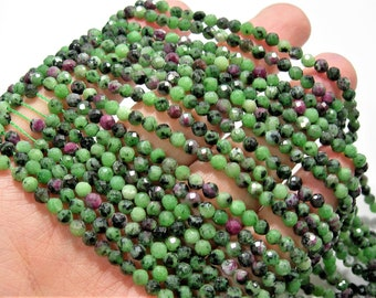 Ruby Zoisite - 4mm faceted round beads -  full strand - 96 beads - Ruby Zoisite - Micro Faceted - A Quality - PG213