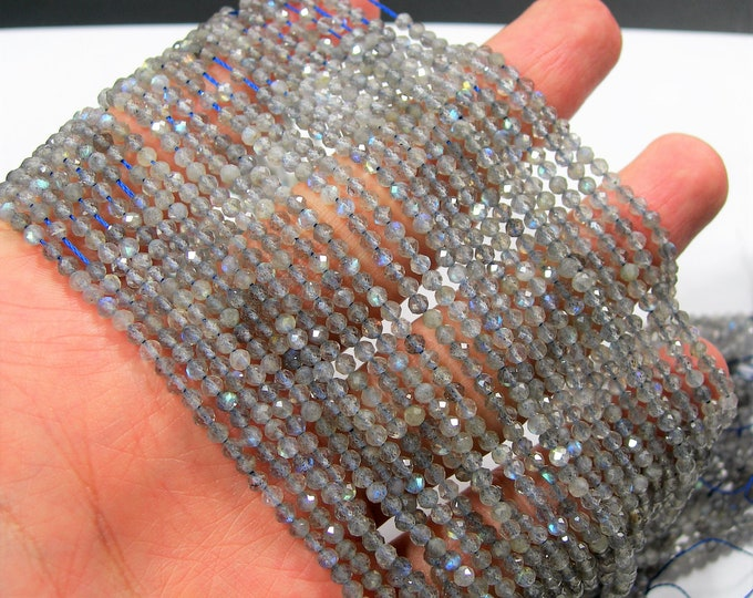 Labradorite - 2.6mm faceted round beads - full strand - 150 beads - micro faceted labradorite - A QUALITY - PG227