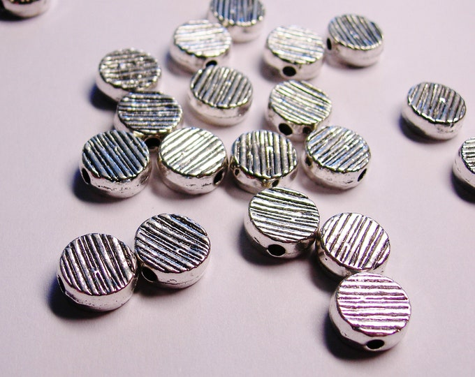 Silver color  beads - 20 pcs - round disc  beads engraved - 11mm - ZAS 118