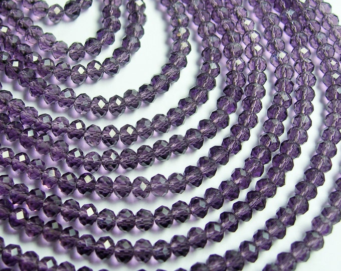 Crystal faceted rondelle - 145 pcs - 18 inch strand - 4 mm - A quality - amethyst purple - CRV29