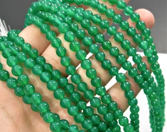 Green Onyx - 6 mm round beads - full strand - 63 beads - AA quality - Green onyx agate - RFG1765