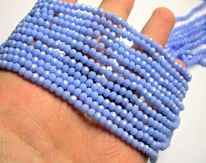 Crystal faceted rondelle 4mm - blue matte - 18 inch strand 147 beads - YAZ22