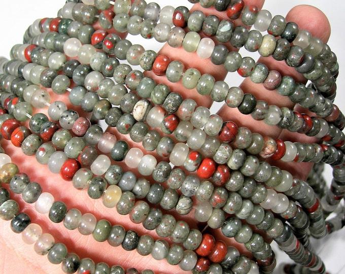 African bloodstone - 6mm rondelle beads - full strand - 88 beads - 4mmx6mm - Seftonite - RFG1719