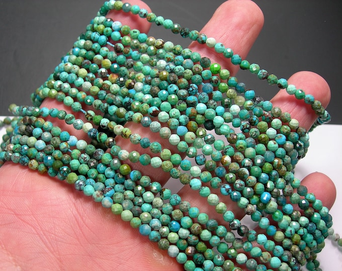 Turquoise - 3mm (3.3mm) faceted beads - full strand - 118 beads - Turquoise gemstone - Micro Faceted - PG348