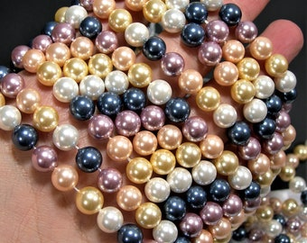 Pearl 8 mm round - lustruous multi color Pearl  -  full strand  50 beads  - Shell pearl - RFG1861