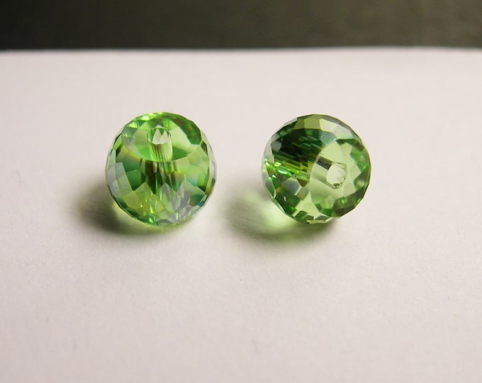 Crystal faceted rondelle barrel - 20 pcs - 8mm x 6mm - AA quality - green ab - BCR4