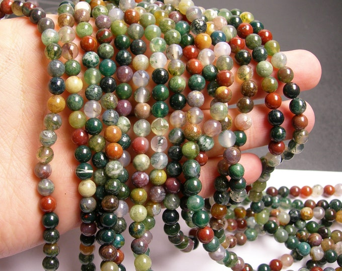 Indian agate 6mm round beads -  68 beads -  full strand - WHOLESALE DEAL - RFG89