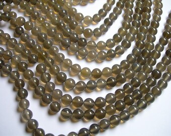 Grey Agate - 10mm round beads - full strand - 39 beads - AA quality - RFG1193