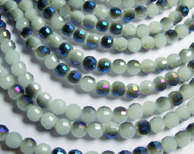 Crystal - round faceted 6mm beads - 100 beads - 26 inch strand - dual tone white mystic blue ab - AA quality - CRV52