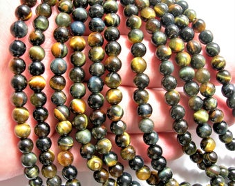 Blue yellow Tiger eyes - 6 mm round beads - full strand - 63 beads - good value  - RFG1564