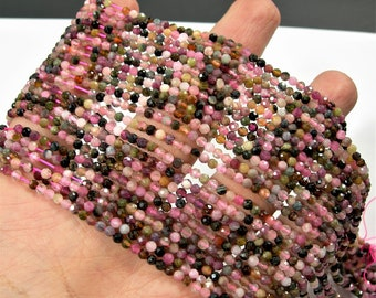 Tourmaline - 3mm (2.8mm) faceted round beads - full strand - 135 beads - multi color tourmaline - micro faceted - PG83