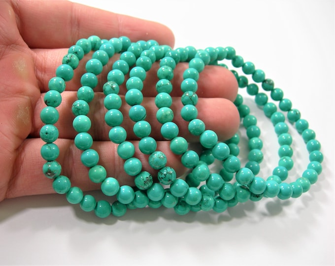 Howlite turquoise - 6mm round beads - 32 beads - 1 set - HSG214