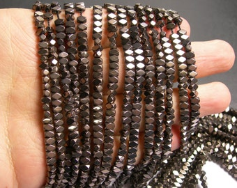 Hematite grey - 4.4mm faceted rectangle - full strand - 138 beads - AA quality - PHG163