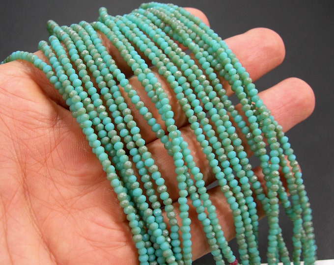 Crystal - rondelle faceted 3mm x 2mm beads - 195 beads - AA quality - Amazon Aqua dual tone  FRosted - CAA2G254