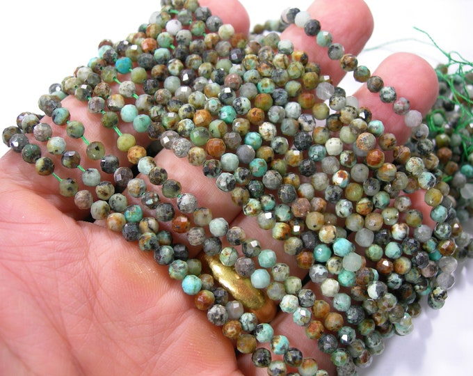 African turquoise - 4mm micro faceted beads -  full strand - 101 beads - PG405