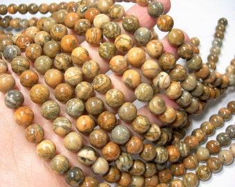 Tiger Jasper 10mm round beads -   Breciated feldspar  - full strand - 39 beads - A quality - RFG1727