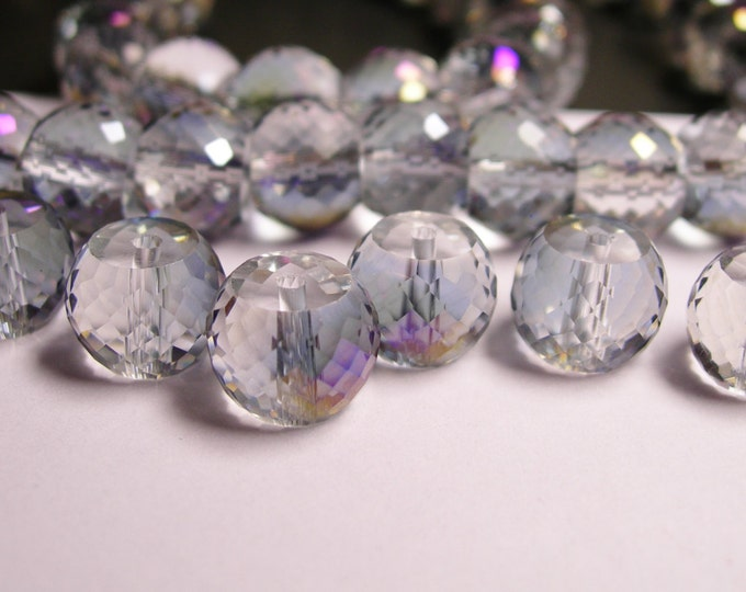 Crystal faceted rondelle barrel - 6  pcs - 11mm by 8.5mm - AA quality - Ab finish - glacier purple - AAABC7