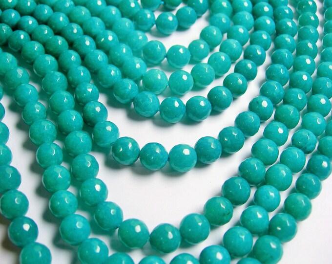 Aqua Jade - 8 mm faceted round beads -1 full strand - 48 beads - Aqua blue Jade - RFG361