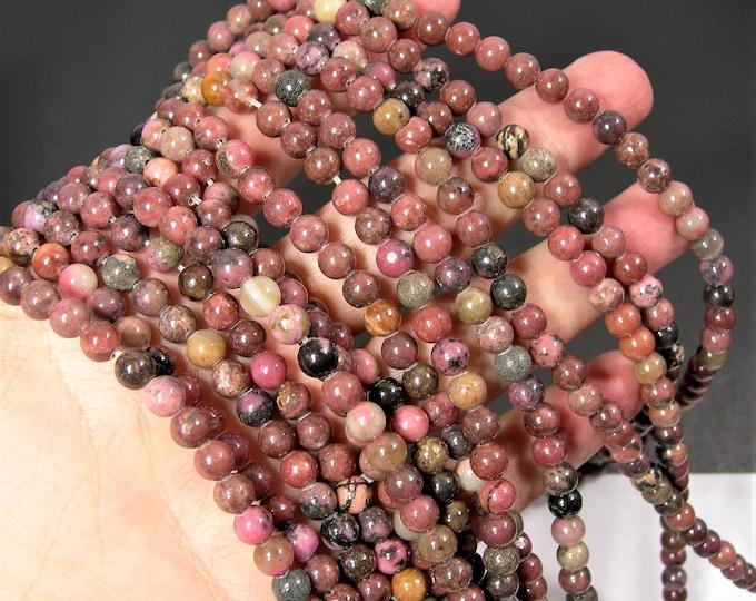 Rhodonite - 6mm round - full strand - 64 beads - rare dark matrix rhodonite - RFG1878A