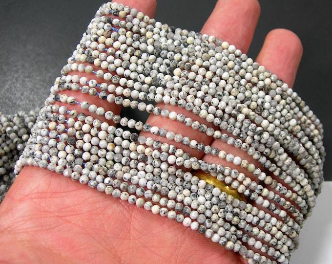 Granite - 2.5mm micro faceted beads - full strand - econo grade K2 GRANITE - 153 beads - PG376