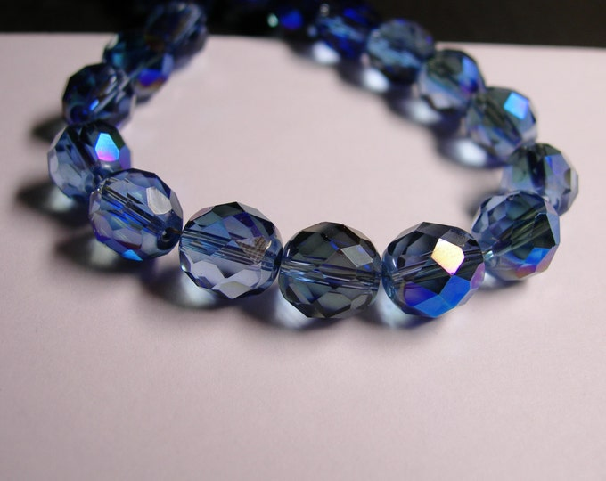 Crystal faceted rounded - 12 pcs -  10 mm - AA quality - sparkle blue - Ab -  CFHBC2