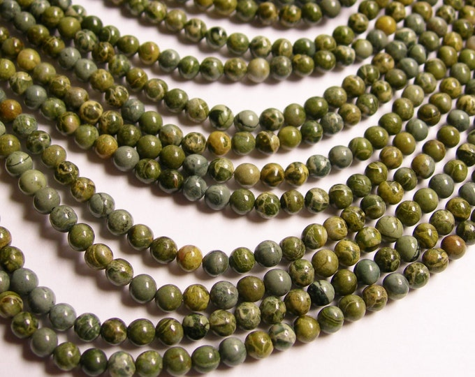 Green Brecciated jasper - 4 mm round beads - full strand - 102 beads - A Quality - RFG298