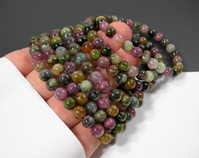 Tourmaline - 7mm round beads - 25 beads - 1 set - HSG234