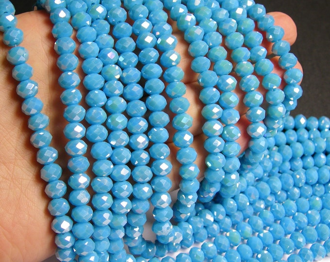 Crystal faceted rondelle - 68 pcs -  8 mm - A quality - full strand - Ab - light blue- GSH25