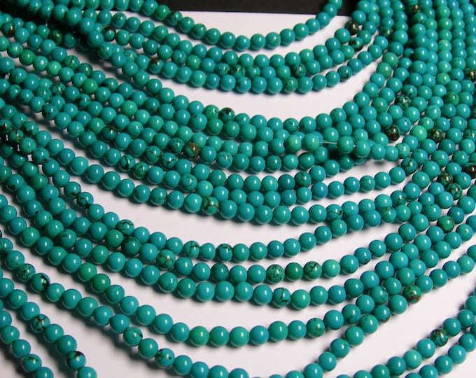 Howlite turquoise - 4mm round beads - full strand - 100 beads -  A Quality - RFG965