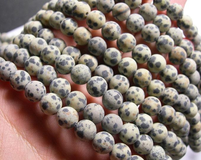 Dalmatian jasper matte - 8 mm - 48 beads - full strand - A quality - matte - RFG556