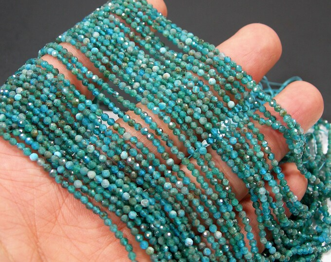 Apatite - 2mm(2.25mm) micro faceted round beads - 175 beads - Full strand - Blue apatite  - PG299