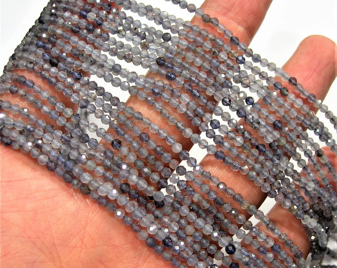 Iolite - 2.4mm micro faceted round beads - 1 full strand - 153 beads - 16 inch - 40 cm - Iolite gemstone - PG154
