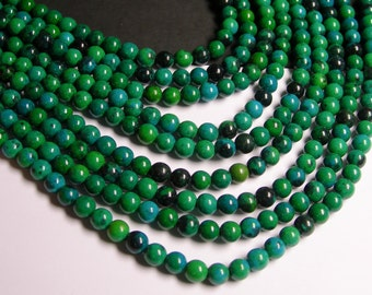 Chrysocolla - 6mm round beads -  full strand - 64 beads - reconstituted - RFG338