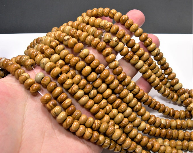 Wood jasper - 5mmx8mm  rondelle - 1 full strand - 70 beads - serpeggiante - RFG1882