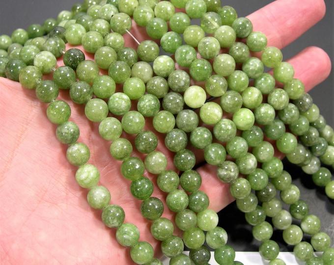 Malaysia Jade - 8 mm round beads - full strand - 48 beads - green Jade - RFG1909