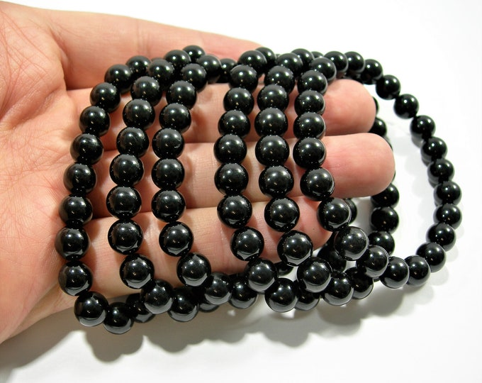 Black Tourmaline - 8mm round beads - 23 beads - 1 set - A quality - HSG112